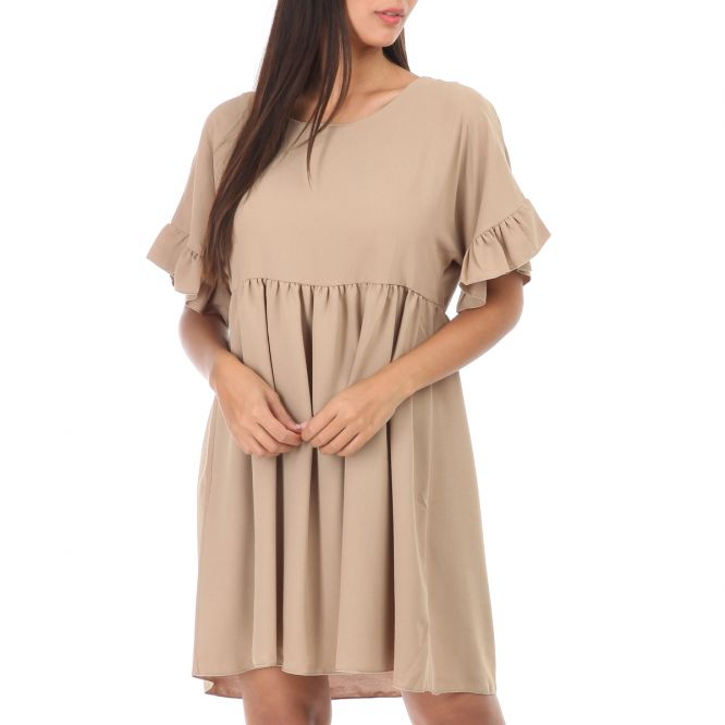 Robe camel style babydoll à manches courtes