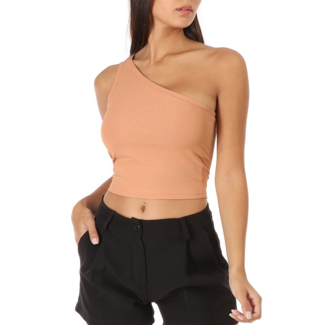 Top taupe one shoulder côtelé