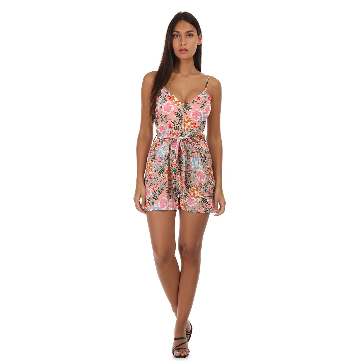 Combi-short rose à motif tropical
