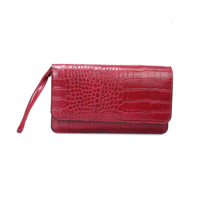 Portefeuille en simili croco rouge