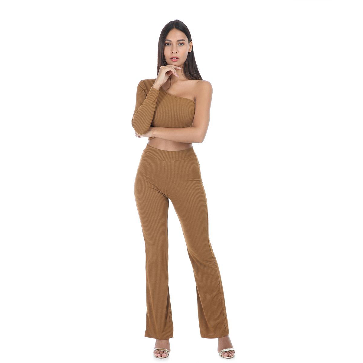 Ensemble pantalon camel côtelé avec top one shoulder