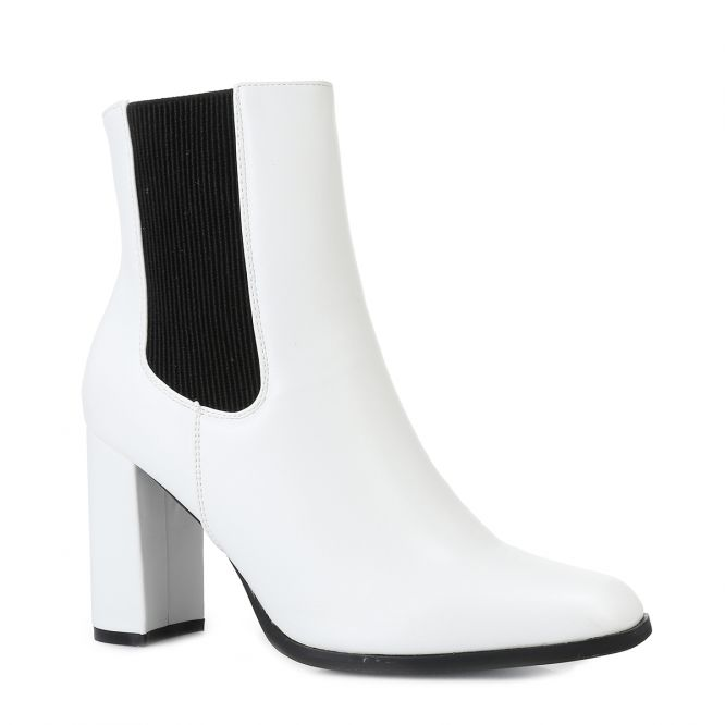 Bottines chelsea simili cuir blanc à bout carré