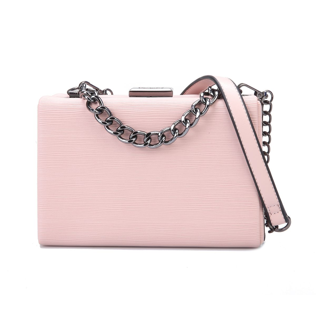 Pochette rectangulaire en simili cuir rose à relief