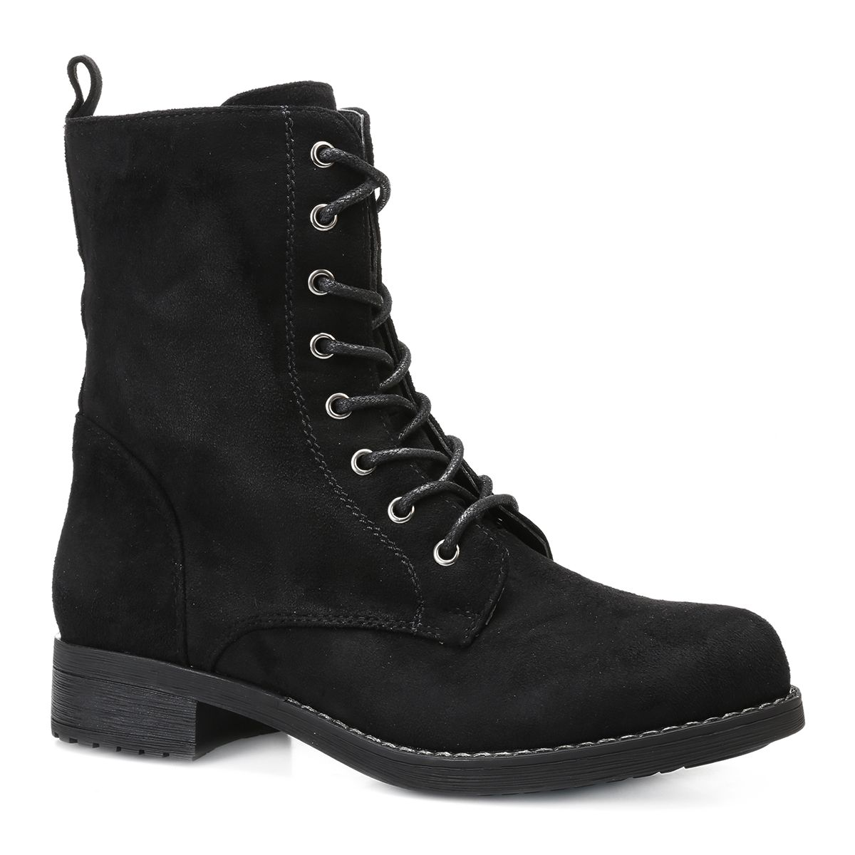 Bottines à lacets en simili daim noir