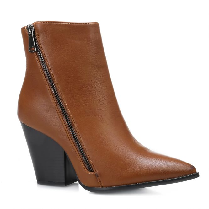 Bottines en simili cuir camel à fermeture zippée