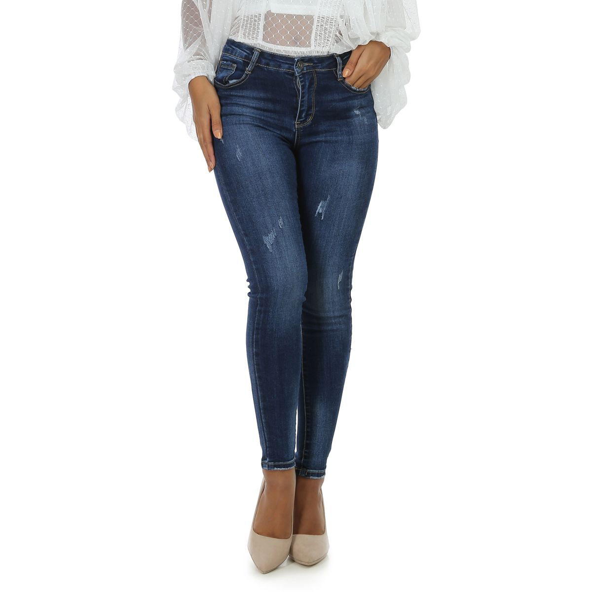 Jeans bleu skinny push-up destroy