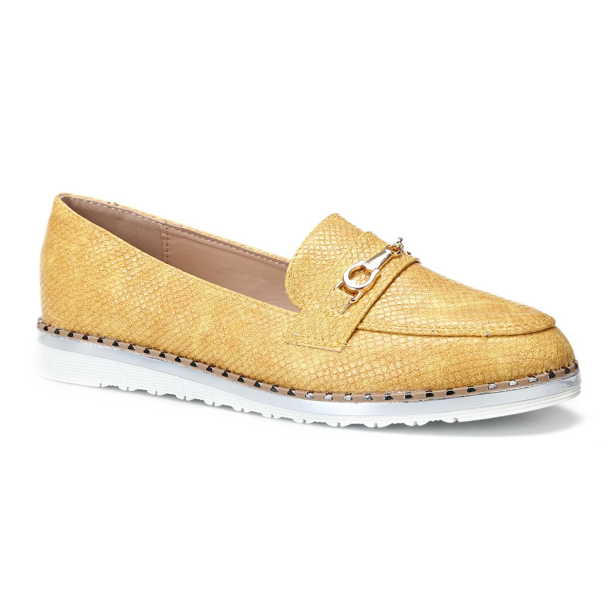 Mocassins en simili croco jaune avec bride métallique