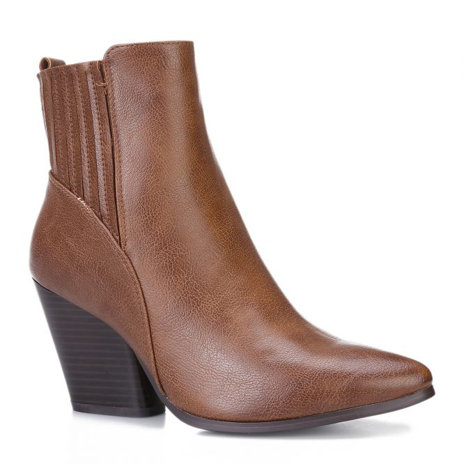 Bottines marrons à talon carré et bout pointu