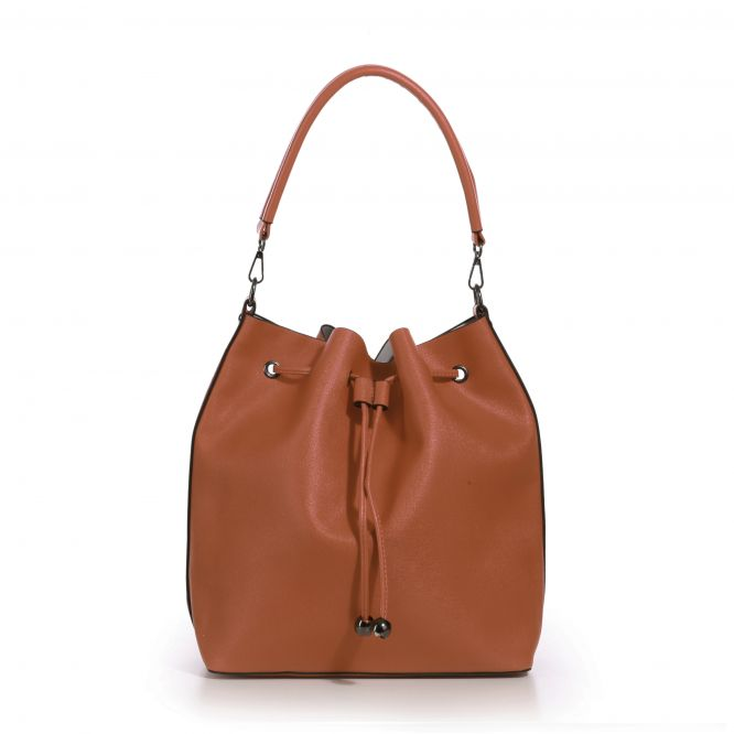 Sac seau marron aspect cuir