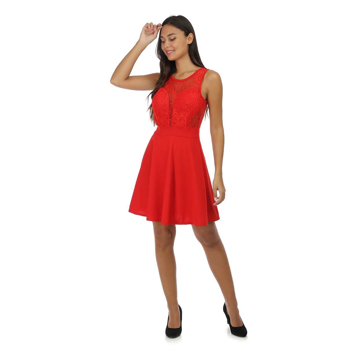 Robe rouge patineuse à dentelle