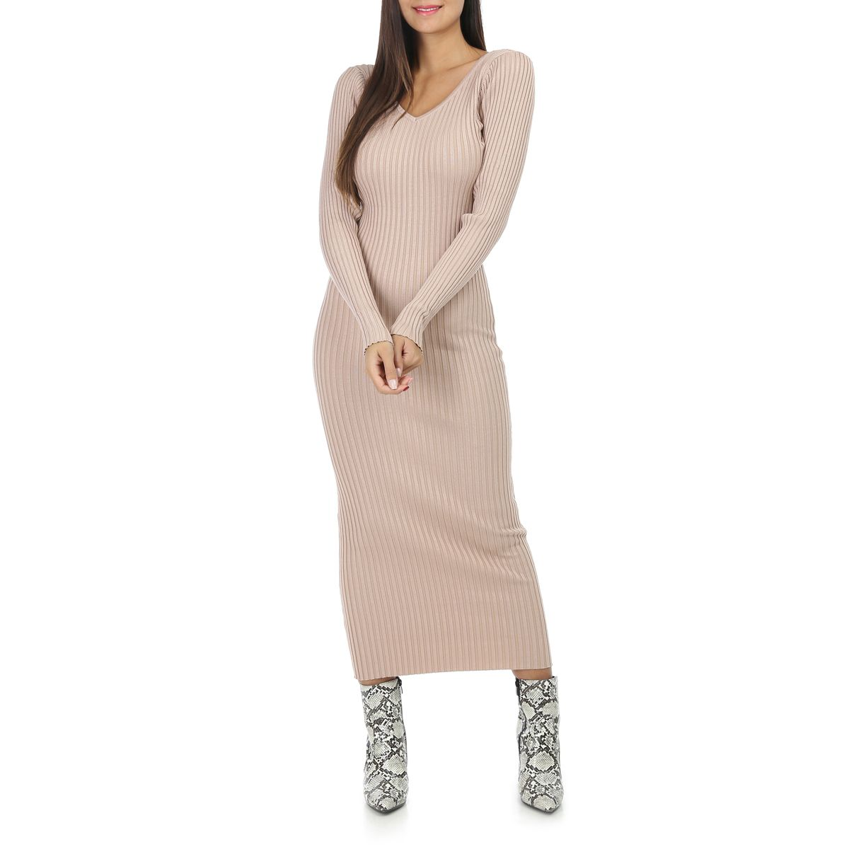 Robe Pull Longue Beige Cotelee A Col V