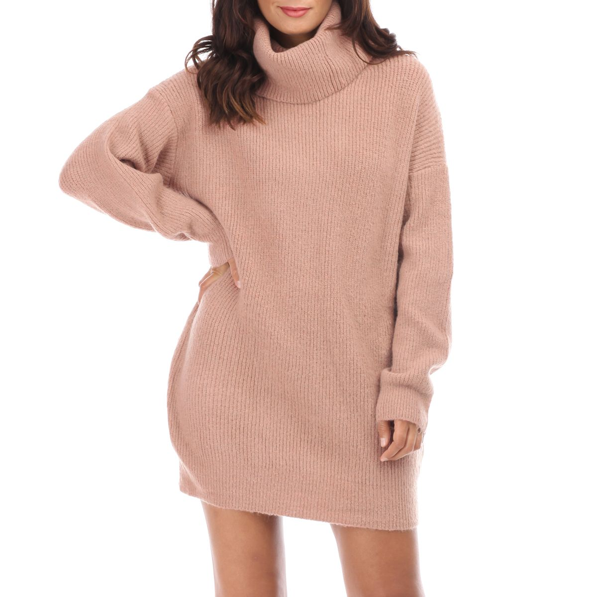 Robe Pull Rose A Col Roule Oversize