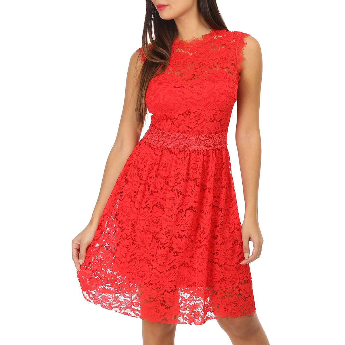 Robe Rouge Patineuse A Dentelle