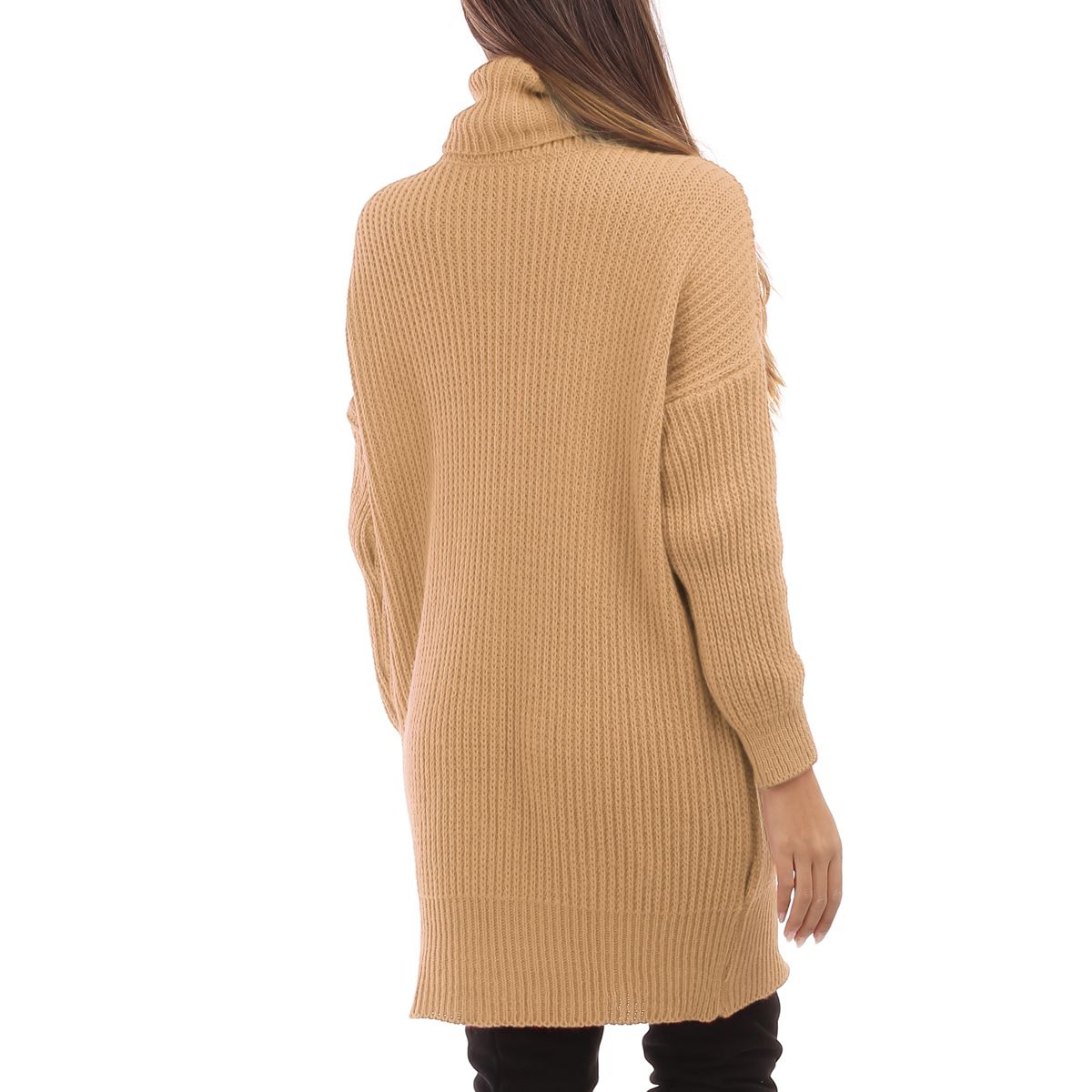Robe pull camel col roulé