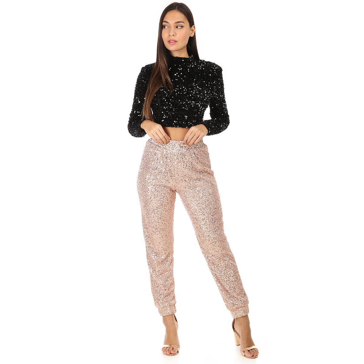 Crop top noir à sequins