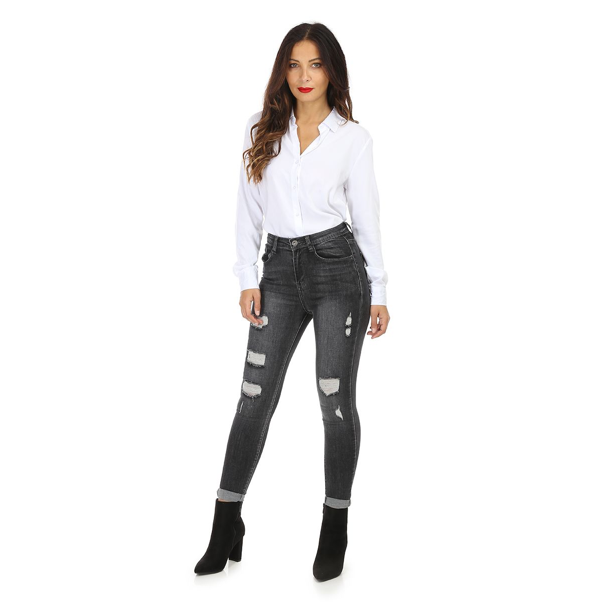 Jeans gris destroy coupe skinny