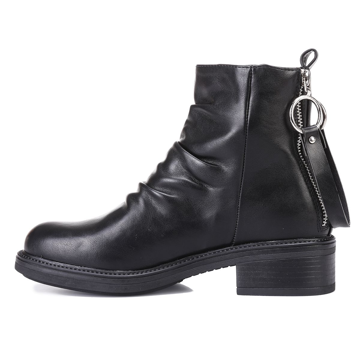 Bottines noires en simili cuir avec sangle et zips