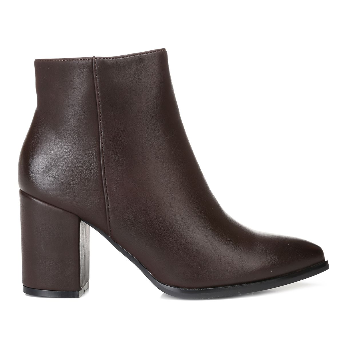 Bottines marron en simili cuir à talon carré et bout pointu