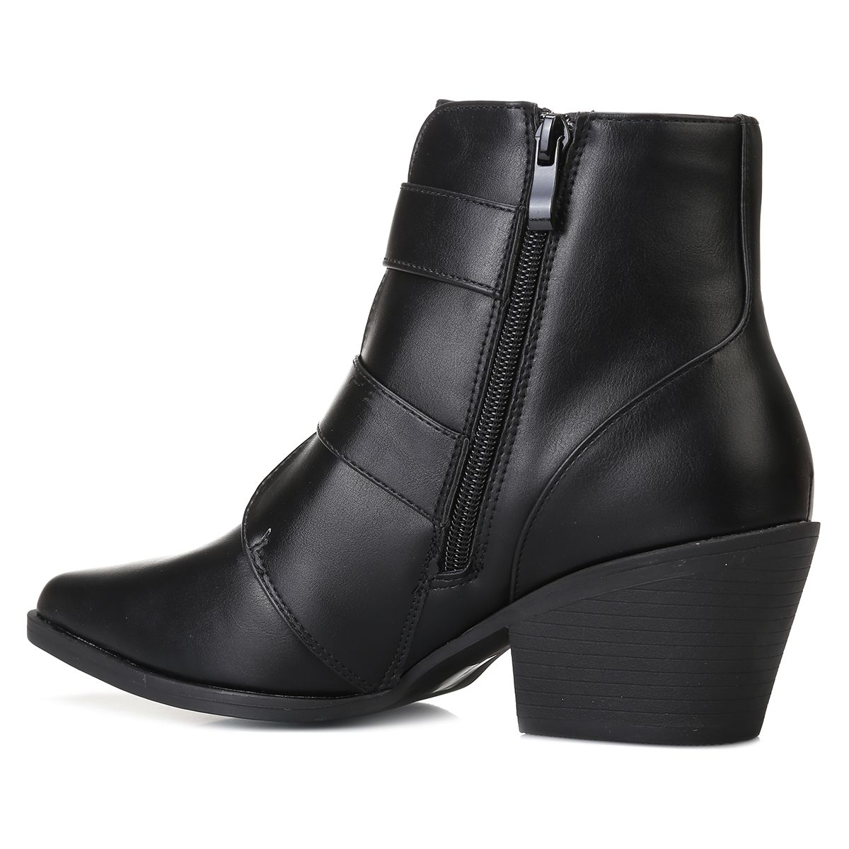 Bottines noires en simili cuir à bout pointu et brides