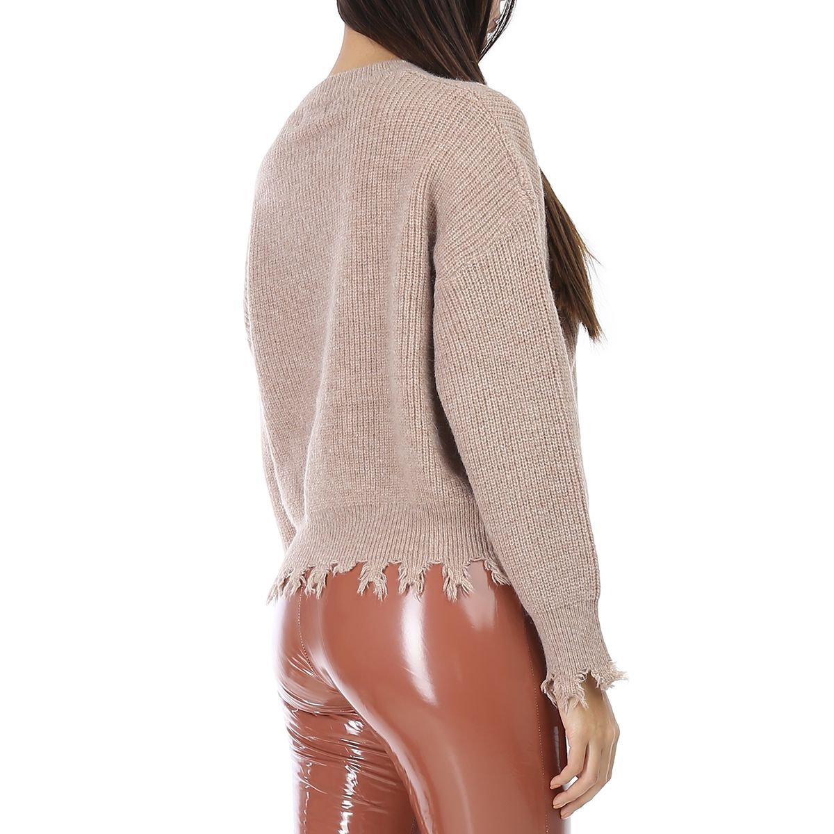 Pull taupe oversize effiloché
