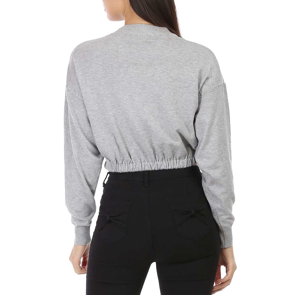 Pull gris en maille fine cropped