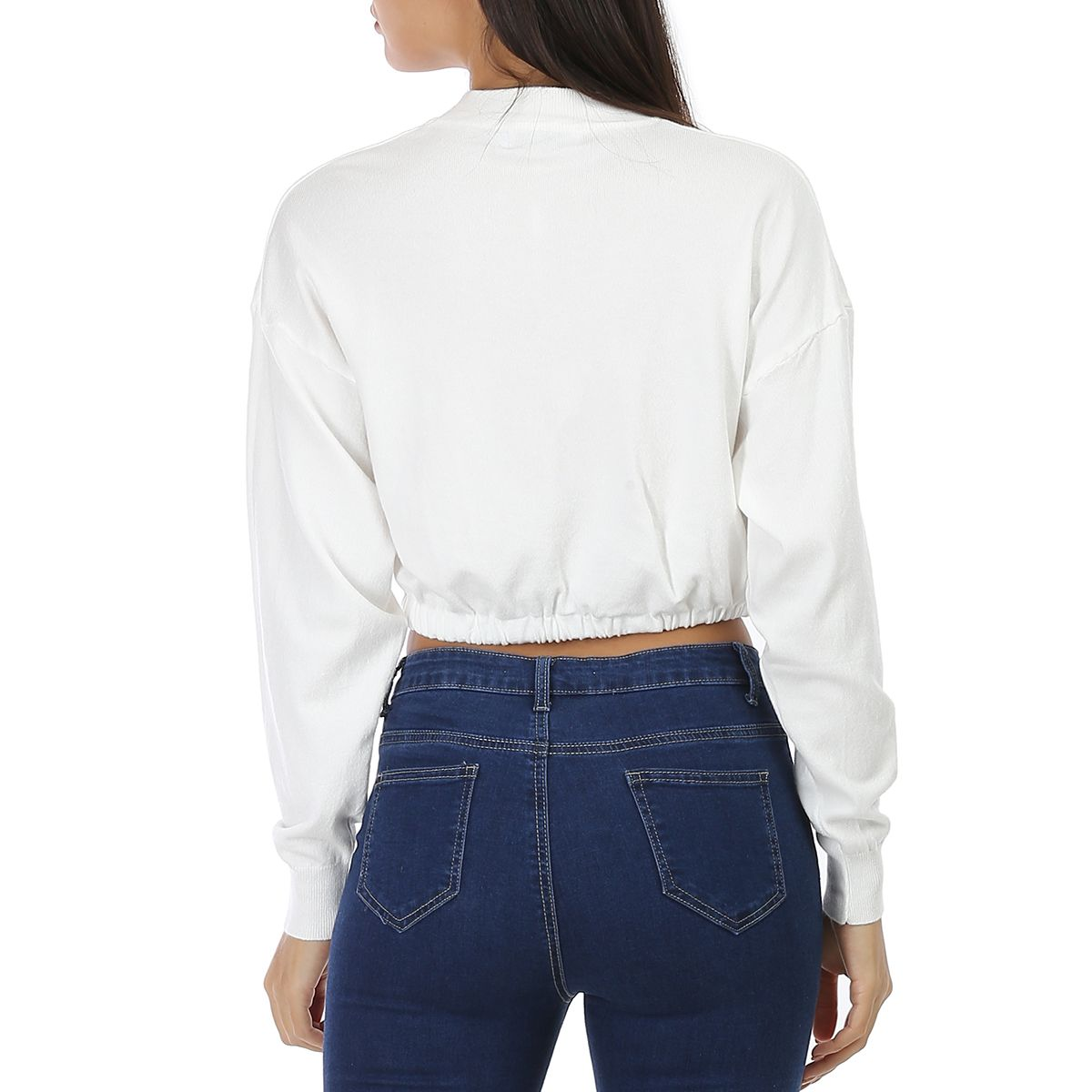 Pull blanc en maille fine cropped