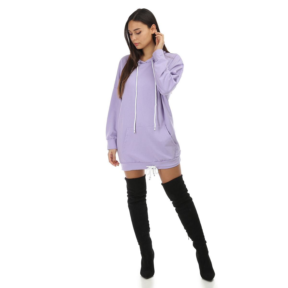 Robe sweat parme à capuche