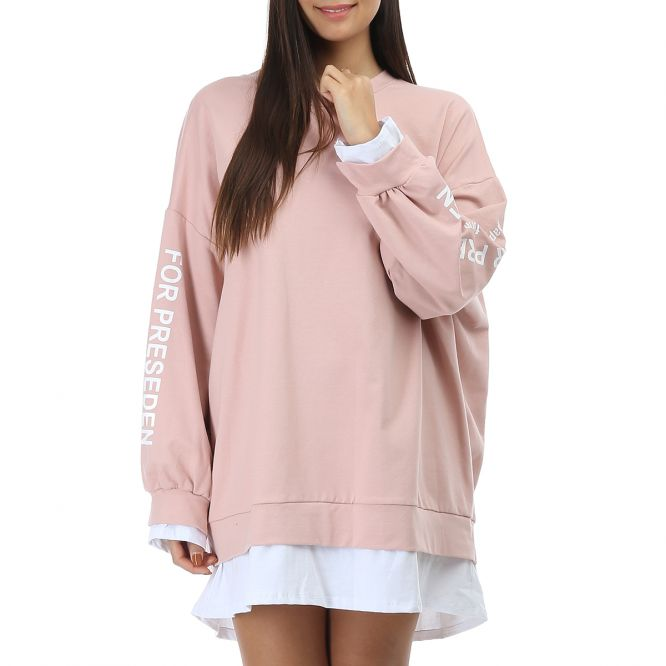 Robe sweat rose oversize avec inscription