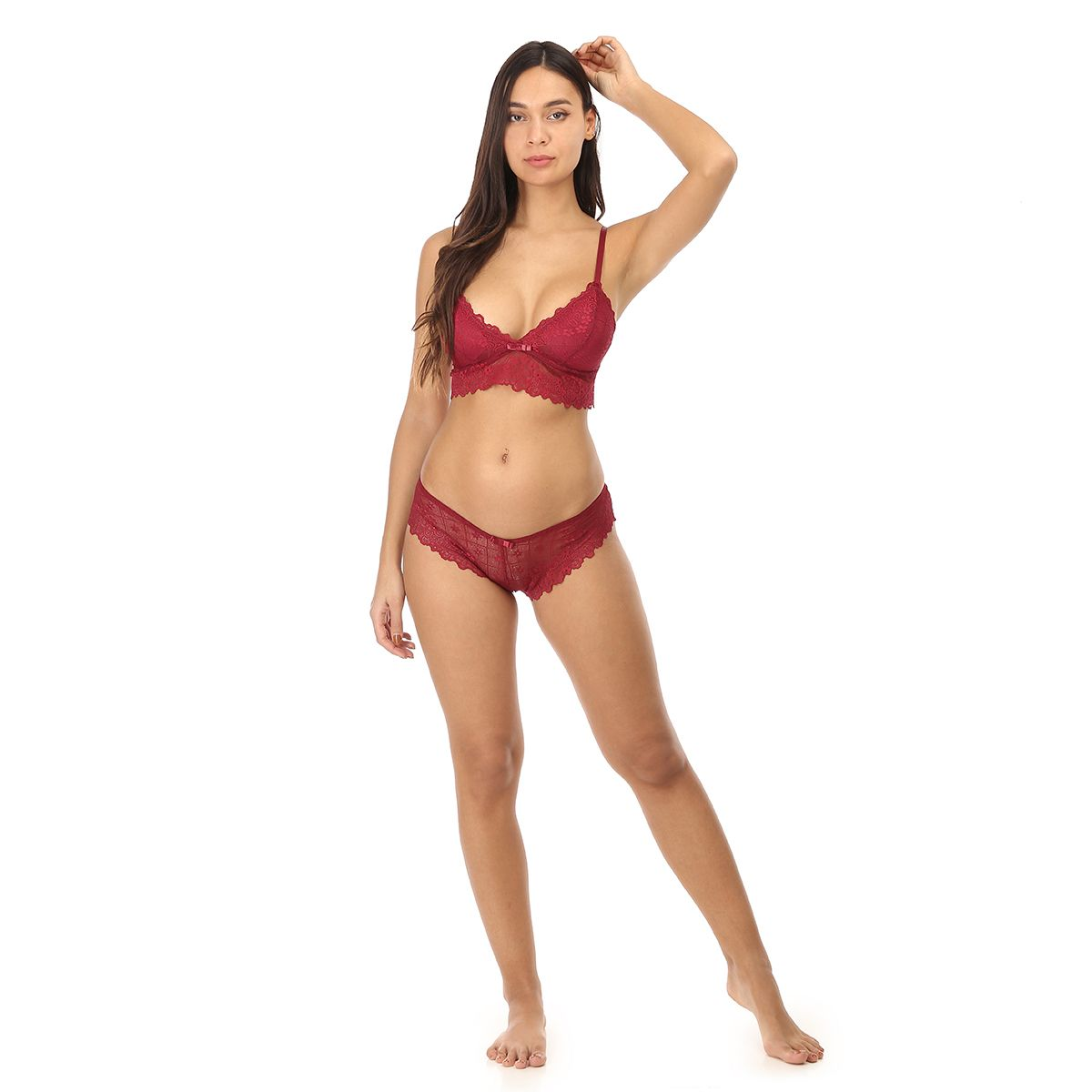 Ensemble rouge bralette triangle à dentelle