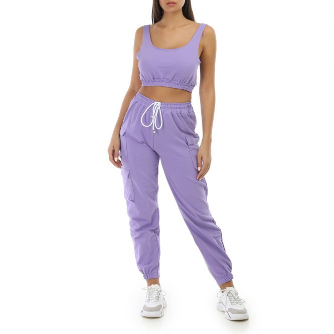 Ensemble crop top et jogging violet