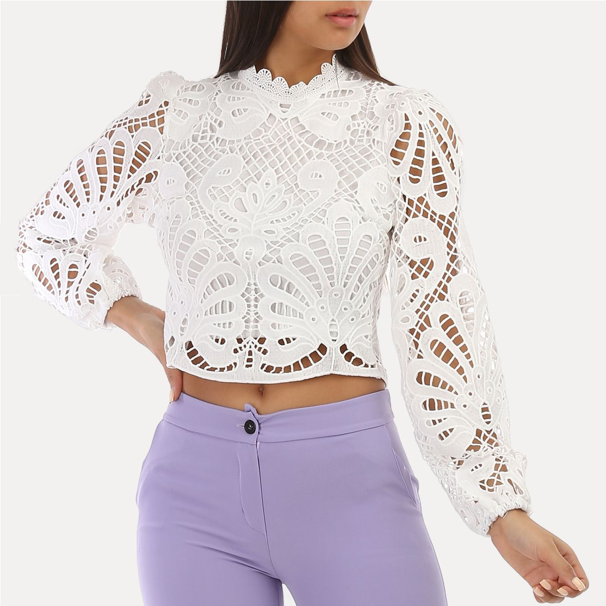 Crop top blanc brodé