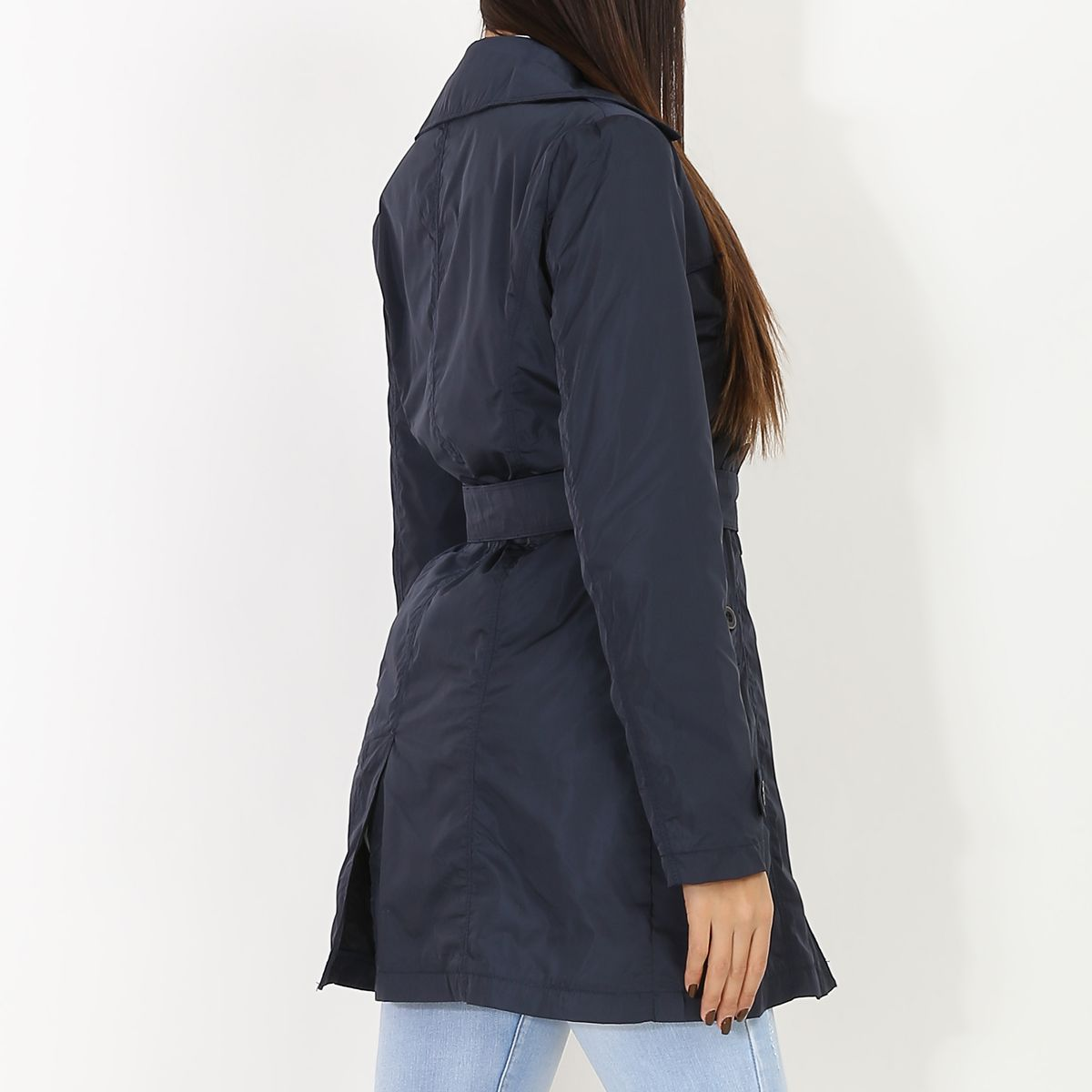Trench mi-long bleu marine imperméable