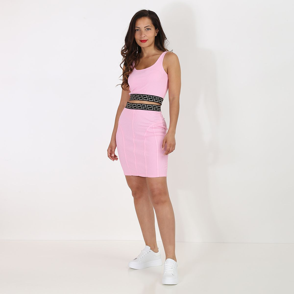 Ensemble côtelé jupe crop top rose à motifs grecques