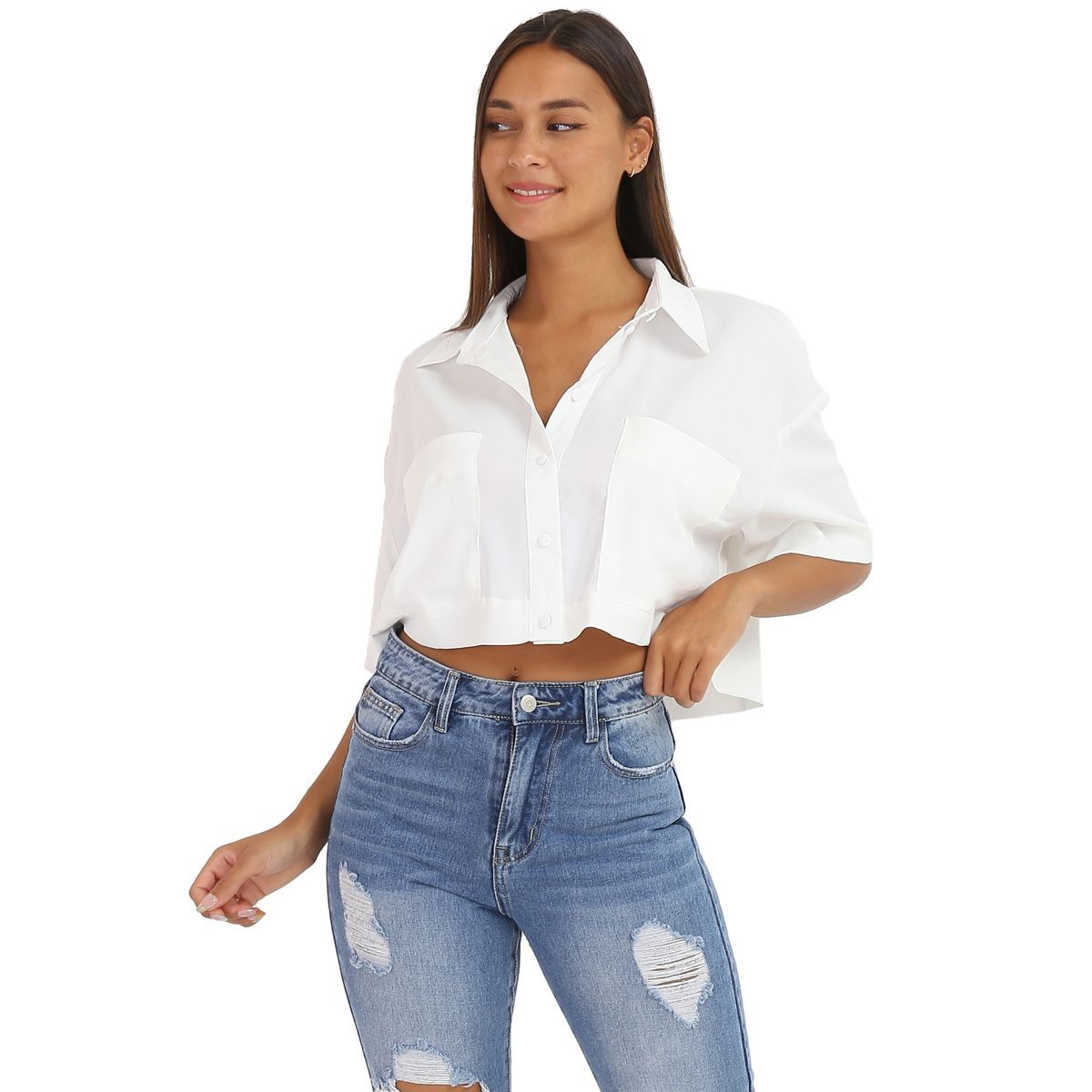 Chemise blanche cropped oversize