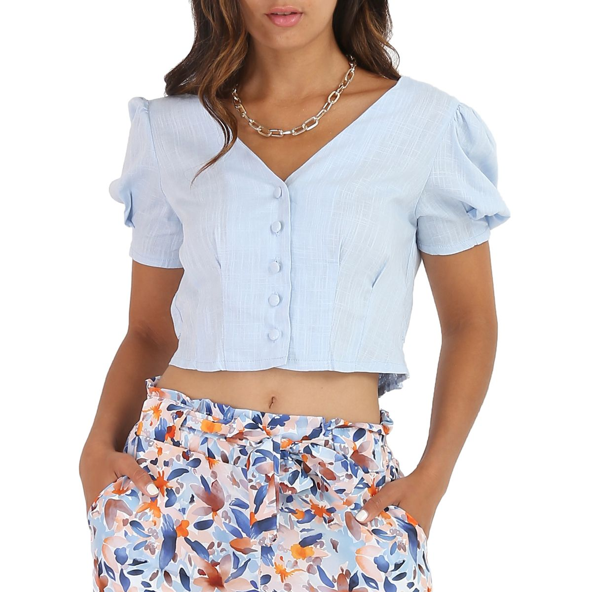 Chemisier cropped bleu style lin