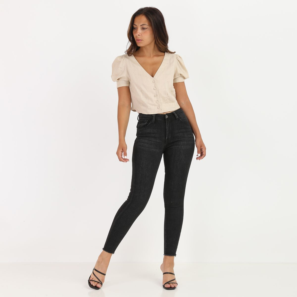 Chemisier cropped beige style lin