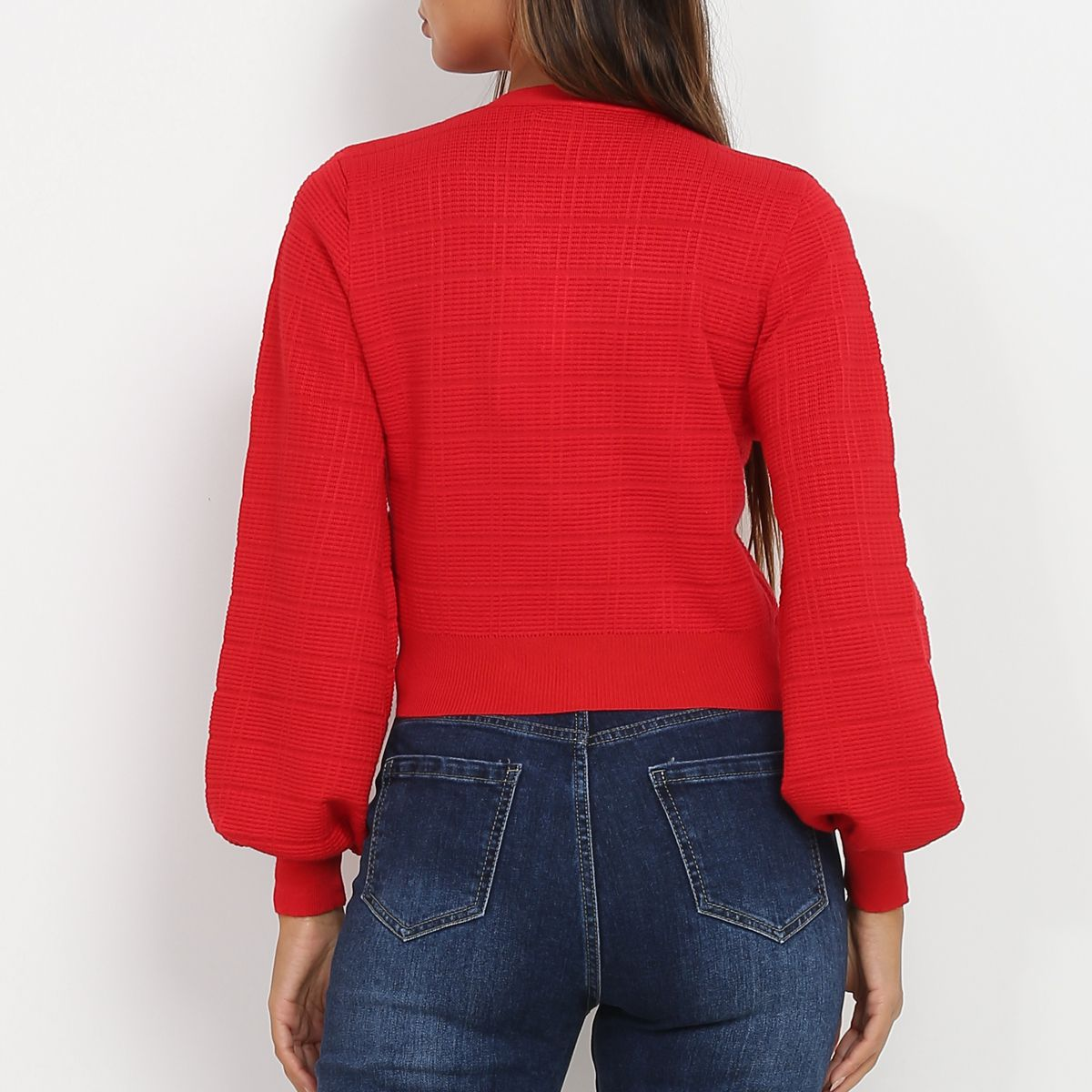Gilet cropped rouge à manches bouffantes