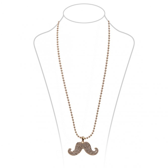 Collier moustache strass