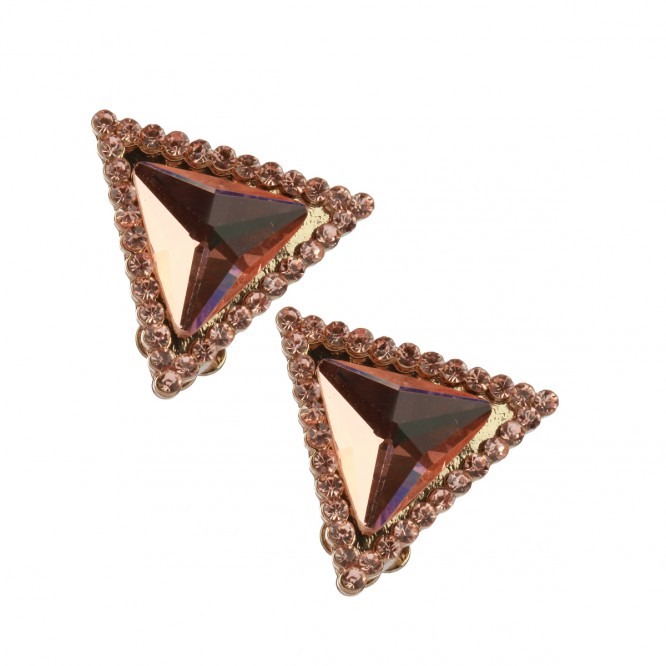 Boucles diamant triangle rose