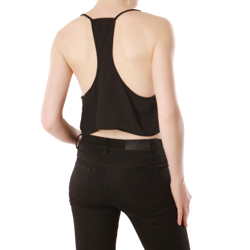 Top Crop uni noir