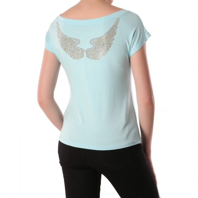 T-shirt ample aile d'anges turquoise