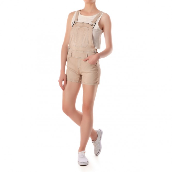 Salopette short en denim uni beige