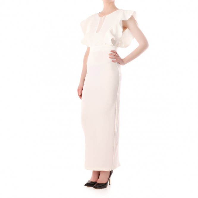 Maxi robe manches froufrous blanc
