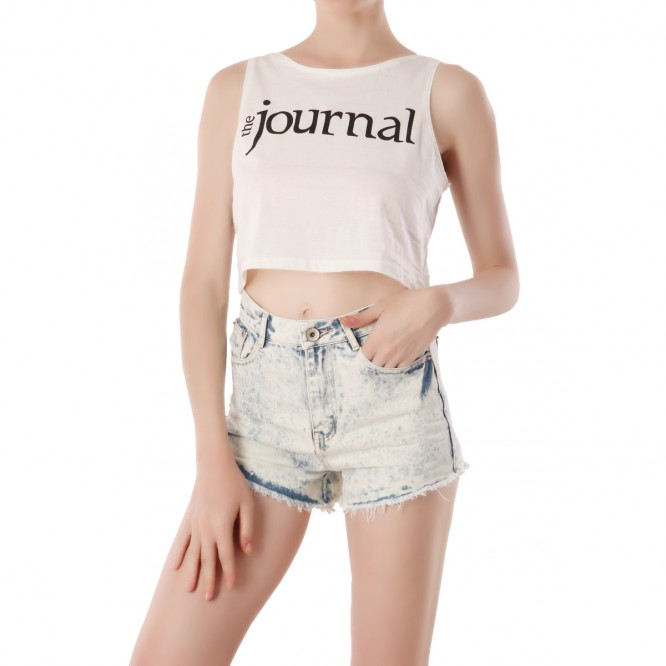 Crop top Journal Blanc