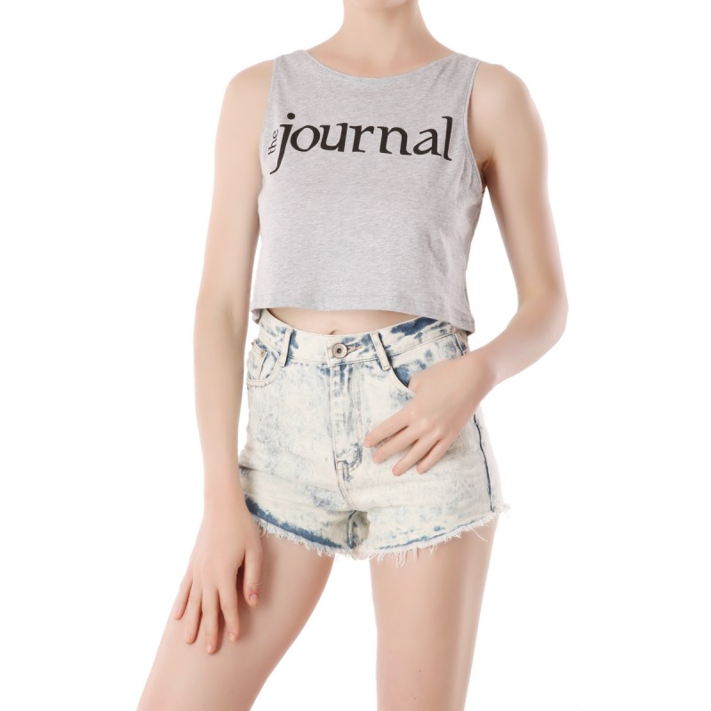 Crop top Journal Gris