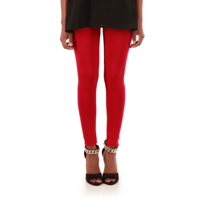 Legging uni rouge