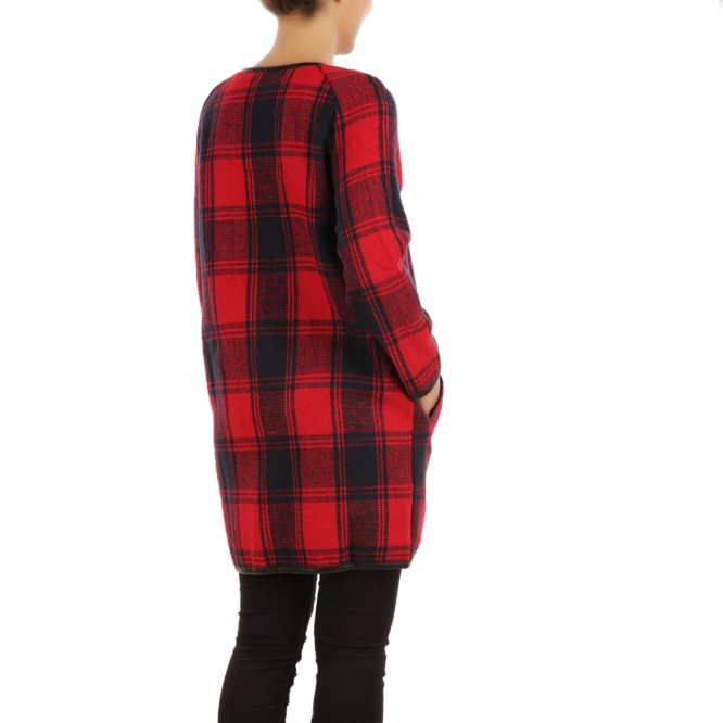 Manteau mi-long tartan rouge
