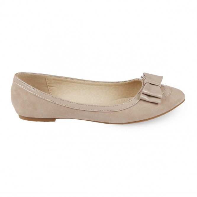 Ballerines bout pointu aspect daim taupe