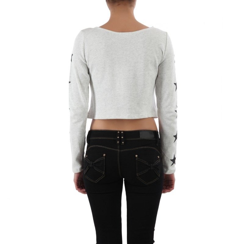 Crop top manches longues Wish do gris clair