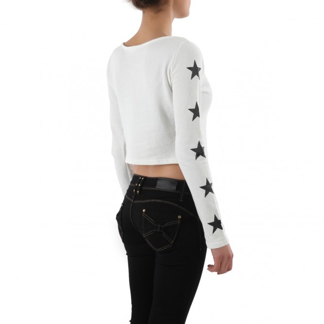 Crop top manches longues Wish do blanc